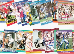 Lot of 25 different autographed 1990 Pro Set football cards (Paul Gruber Ken Harvey Keith Sims)