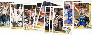 Lot of 9 autographed 1991-92 Upper Deck basketball cards (Terry Davis Sleepy Floyd Tyrone Hill Robert Pack)