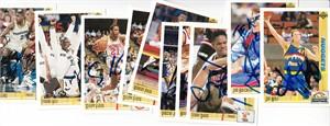 Lot of 9 autographed 1991-92 Upper Deck basketball cards (Terry Davis Sleepy Floyd Tyrone Hill Robert Pack)