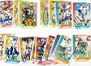 Lot of 16 autographed 1991 Pacific football cards (Bubby Brister Simon Fletcher Eric Hill Bart Oates)