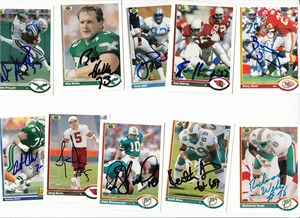 Lot of 11 different autographed 1991 Upper Deck football cards (Jerry Ball Ken Harvey Keith Sims Richmond Webb)