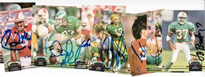 Lot of 9 different autographed 1992 Stadium Club football cards (Eugene Lockhart Michael Zordich)