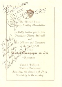 Rudy Galindo Carol Heiss Nancy Kerrigan Debi Thomas autographed 1995 U.S. Figure Skating Association invitation