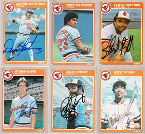 Lot of 6 autographed Baltimore Orioles 1985 Fleer cards (Storm Davis Dennis Martinez Mike Young)