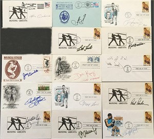15 boxing Hall of Famers autographed cachet envelopes (Billy Conn Gene Fullmer Max Schmeling)