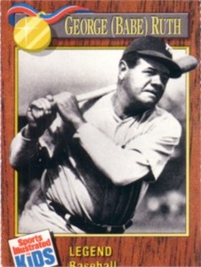 Babe Ruth New York Yankees 1990 Sports Illustrated for Kids card