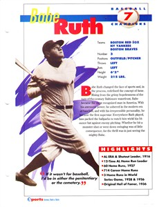 Babe Ruth 1994 Sports Heroes album page