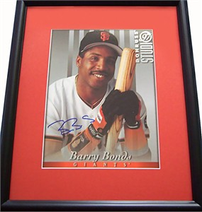 Barry Bonds autographed San Francisco Giants 8x10 photo card matted & framed