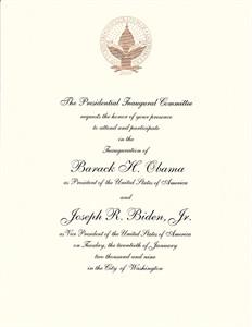 Barack Obama 2009 Inauguration commemorative invitation
