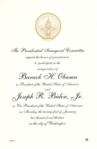 Barack Obama 2013 inauguration commemorative invitation