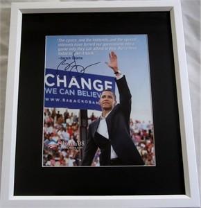 Barack Obama autographed 2008 campaign flyer photo matted & framed