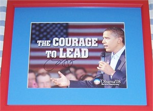 Barack Obama autographed 2008 campaign photo matted & framed