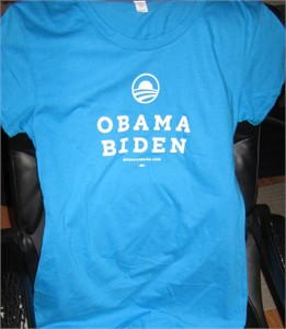 Barack Obama Joe Biden 2012 ladies aqua or teal blue T-shirt BRAND NEW