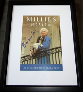 Barbara Bush autographed Millie's Book cover matted & framed