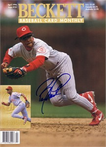 Barry Larkin autographed Cincinnati Reds 1996 Beckett Baseball magazine cover