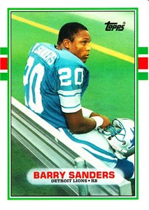 Barry Sanders Detroit Lions 1989 Topps Traded Rookie Card #83T