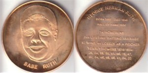Babe Ruth bronze medallion