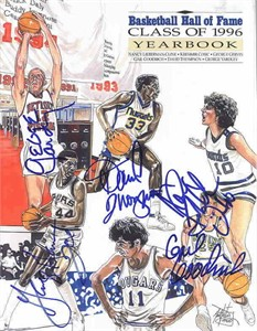 1996 Basketball Hall of Fame Yearbook autographed by George Gervin Gail Goodrich Nancy Lieberman David Thompson George Yardley
