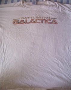 Battlestar Galactica logo white promo T-shirt XL