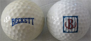 Lot of 2 Beckett Publications logo golf balls
