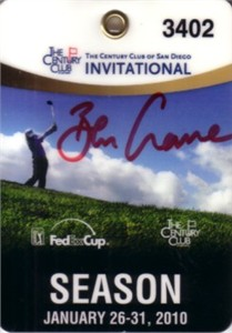 Ben Crane autographed 2010 Century Club Invitational badge