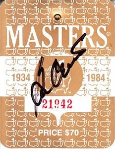 Ben Crenshaw autographed 1984 Masters badge