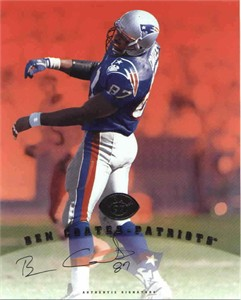 Ben Coates certified autograph New England Patriots 1997 Leaf 8x10 photo card