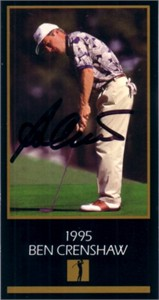 Ben Crenshaw autographed 1995 Masters Champion golf card