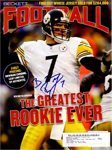 Ben Roethlisberger autographed Pittsburgh Steelers Beckett Football cover