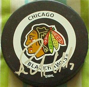 Bernie Nicholls autographed Chicago Blackhawks puck