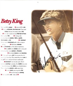 Betsy King autographed 1996 LPGA calendar page photo