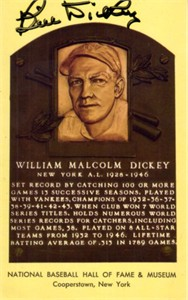 Bill Dickey autographed Hall of Fame plaque postcard