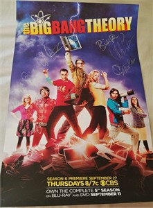 Big Bang Theory cast autographed 2012 Comic-Con poster (Kaley Cuoco Johnny Galecki)