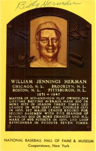 Billy Herman autographed Baseball Hall of Fame plaque postcard