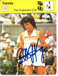 Billie Jean King autographed 1977 Sportscaster Rookie Card