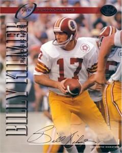 Billy Kilmer certified autograph Washington Redskins 1997 Leaf 8x10 photo card