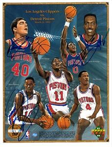Bill Laimbeer Dennis Rodman John Salley autographed Detroit Pistons 1991-92 Upper Deck card sheet