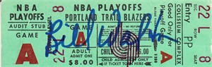 Bill Walton autographed Portland Trail Blazers NBA Playoffs ticket