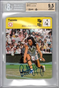 Billie Jean King autographed 1977 Sportscaster card Beckett Authenticated BAS BGS graded 9.5 GEM MINT