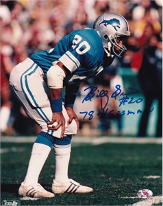 Billy Sims autographed Detroit Lions 8x10 photo inscribed 80 R.O.Y.