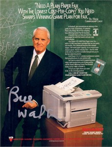 Bill Walsh autographed full page Sharp magazine ad