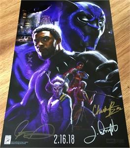Black Panther autographed 2017 Comic-Con movie poster (Chadwick Boseman Winston Duke Letitia Wright)