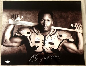 Bo Jackson autographed Bo Knows 16x20 poster size Nike baseball & football photo custom matted & framed (Bo hologram)