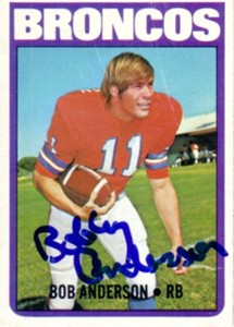Bobby Anderson autographed Denver Broncos 1972 Topps card