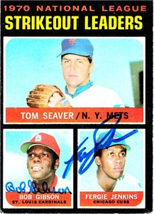 Bob Gibson & Fergie Jenkins autographed 1971 Topps 1970 NL Strikeout Leaders card