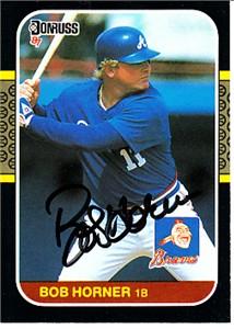 Bob Horner autographed Atlanta Braves 1987 Donruss card