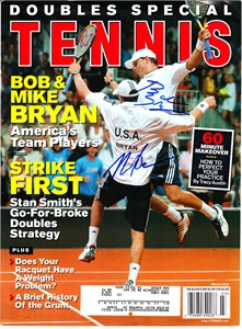 Bob & Mike (Bryan Brothers) autographed 2004 Tennis magazine cover