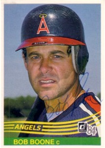Bob Boone autographed Angels 1984 Donruss card