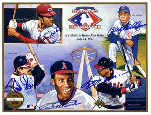 Bobby Bonds George Foster Bob Grich Reggie Jackson Billy Williams autographed Angels 1991 Upper Deck card sheet