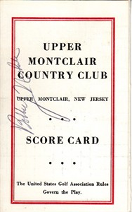 Bobby Nichols autographed Upper Montclair Country Club 1960s golf scorecard